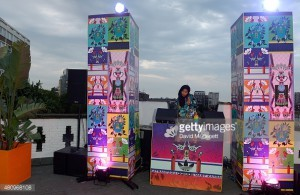 attends a rooftop party in Shoreditch, London, to celebrate the launch of Mary Katrantzou for adidas Originals Season 2 at Snap Studios on July 16, 2015 in London, England.